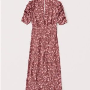 Abercrombie & Fitch Cinched Sleeve Midi Dress XS